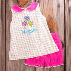a4e97aa4945 Lolly Wolly Doodle Multi Dot Collar Hot Pink Bloomer Set 6 21 Bloomer
