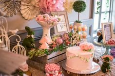 Enchanted garden baby shower party! See more party planning ideas at CatchMyParty.com!