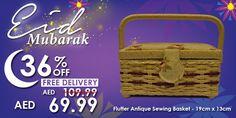 Flutter Antique Sewing Basket #Eid #mubarak #offer #deals #discount #sale #promo #sewing #stitching #craft #basket #kit #flutter #antique