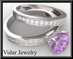 Diamond Wedding Ring Set.Amethyst Wedding Ring Set,Engagement Ring Set,Unique,Custom,Luxury,Purple Engagement Ring,