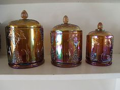 RARE 3 PC MARIGOLD INDIANA CARNIVAL GLASS CANISTER SET /HARVEST PATTERN