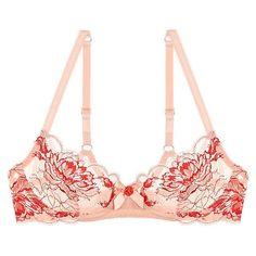 L'Agent Dani Non-Padded Balcony Bra ($92) ❤ liked on Polyvore featuring intimates, bras, floral bra, shelf bra, balconette bra, padded lingerie and padded demi bra