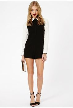 2a9f21e753d Beatrina Contrast Collar   Sleeves Tailored Playsuit In Black - Jumpsuits    Playsuits - Playsuits -