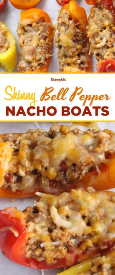 This recipe for Bell Pepper Nacho Boats calls for delicious ingredients, like lean ground meat, savory spices, juicy salsa, and melted cheddar cheese. via @SkinnyMs
