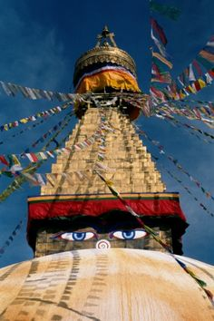 #Boudhanath Stupa – With golden spire and all seeing Buddha eyes on the top of a giant white hemisphere, Nepal's Boudhanath Stupa is one of the most visited temples in the world!  #Kathmandu #Nepal  Visit http://www.buddhatravel.com.au/ for more information!