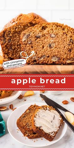 This Easy Cinnamon Apple Bread is loaded with applesauce, chopped pecans, and warm spices. A moist, delicious quick bread recipe that makes the perfect fall treat. PRINTABLE RECIPE at TidyMom.net Best Homemade Bread Recipe, Homemade Banana Bread, Quick Bread Recipes, Pound Cake Recipes, Apple Recipes, Pound Cakes, Muffin Recipes, Easy Recipes, Fresh Bread