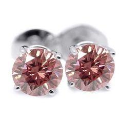 1.00 Karat Pink Diamant Ohrstecker aus 585er Weißgold. Diamantohrstecker aus der Kollektion Pink von www.pearlgem.de
