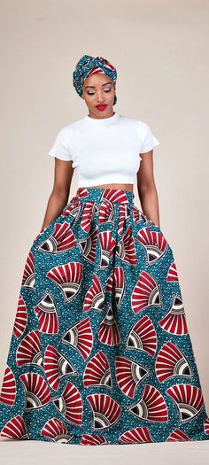 "Shaitou Skirt. Relaxed yet sophisticated and, best of all, universally flattering – just look how it nips in the waist – a full, high waisted skirt is an instant game-changer with two side pockets and approximately 2"" waist band.     Ankara 