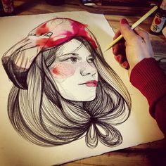 Paula Bonet y una modelo de lujo, Bruna Cusí Life Drawing, Painting & Drawing, Watercolor Paintings, Sketchbook Drawings, Drawing Sketches, Paula Bonet, Photography Illustration, Graphic Design Illustration, Art Forms