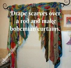 ☮ American Hippie DIY ☮ Scarf curtains More You are in the right place about hippie home decor boho Scarf Curtains, Beaded Curtains, Diy Curtains, Nursery Curtains, Velvet Curtains, Purple Curtains, Corner Curtains, Blackout Curtains, Floral Curtains