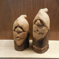 Garen & Gavin the Filbert Brothers. Two Wood Spirits cut from the same wild filbert tree. Simple Wood Carving, Wood Carving Faces, Dremel Wood Carving, Wood Carving Patterns, Wood Carving Art, Wood Art, Whittling Projects, Whittling Wood, Carving Station