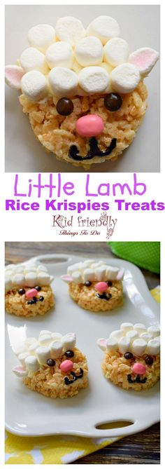 Cute and Easy to Make Little Lamb Rice Krispies Treat for Easter - Perfect for Easter, spring, or farm animal party! http://www.kidfriendlythingstodo.com