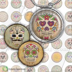 Day of the Dead Collage Sheet Bottle Cap Images by calicocollage on Etsy