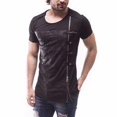 New Men's T-Shirt Floral Printed Oversized Slim Fit Fashion Zipper Details 2842 | eBay