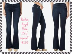 "Hudson Angel Flare:  The Angel Flare is fitted through the hips and thighs then breaks inches below the knee into a flare silhouette. It's a five pocket, regular rise fit with a 35.5"" inseam!!  Medium weight, super stretch denim with soft feel   Fabrication: 92% cotton, 6% polyester, 2% elastan   Regular rise, Five pocket style, Zip fly  Contour waistband that sits higher in the back for more coverage  Inseam: 35.5"" Leg Opening: 21"""