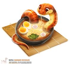 "Daily Painting Danger Noodles by Cryptid-Creations Preorders Open for ""Daily Paintings Book"" Store Link: forgepublishing. Cute Food Drawings, Cute Animal Drawings, Kawaii Drawings, Danger Noodle, Cute Reptiles, Animal Puns, Animal Food, Cute Snake, Snake Art"