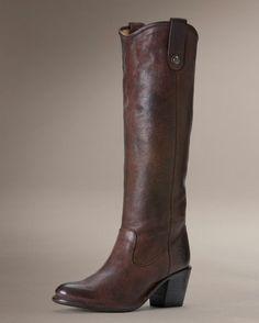 "Women's Pressed Jackie Button Boot - Dark Brown, 16"" shaft height.   My ultimate dream boot."