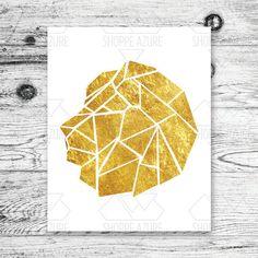 Geometric Lion Gold Multi Color Digital Print 8x10 by ShoppeAzure