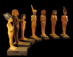 Hand carved funereal shabti, model workers which were buried with the dead to provide labour in the Afterlife