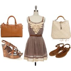 I love this dress with sandals. It is very cute and simple. Work or play