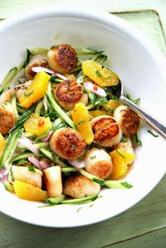 Yummy Recipes: Scallop-Orange-Cucumber Salad recipe