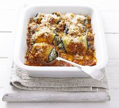 Aubergine - eggplant rolls with spinach & ricotta... a vegetarian, pasta-free version of cannelloni