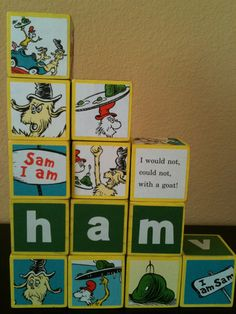 Green Eggs and Ham Dr Seuss Building Blocks by OllieBeez on Etsy