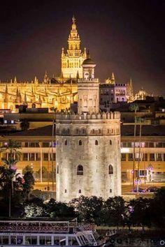 Torre del Oro y al fondo La Giralda Sevilla Andalucia. España.