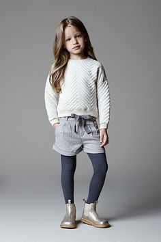 Angel & Rocket Fall 2014 Long Sleeve, Shorts with Tights Little Girl Fashion, Toddler Fashion, Kids Fashion, Fashion Niños, Little Fashionista, Cute Outfits For Kids, Stylish Kids, Kid Styles, Kind Mode