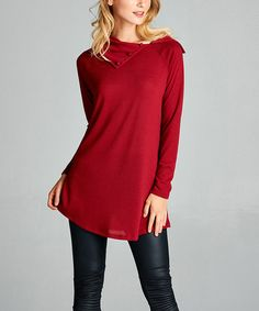Burgundy Three-Quarter Sleeve Sweater