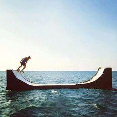 Skating in the ocean