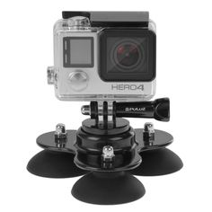 SUNSKY - PULUZ Triangle Suction Cup Mount with Screw for GoPro HERO4 Session /4 /3+ /3 /2 /1(Black)