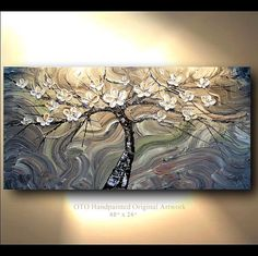 ORIGINAL Oil Painting Abstract Flower Tree Gray by tjenkinsarts