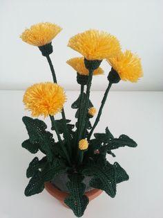 Watch The Video Splendid Crochet a Puff Flower Ideas. Phenomenal Crochet a Puff Flower Ideas. Crochet Puff Flower, Crochet Cactus, Knitted Flowers, Crochet Flower Patterns, Freeform Crochet, Dandelion Leaves, Dandelion Flower, Dandelions, Flower Tutorial
