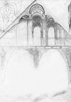 snickykiki:    One of Alan Lee's concept sketches of Rivendell.