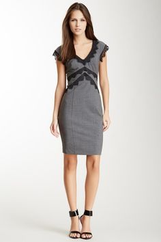 Lace Trim Dress {black and gray} - Want to save 50% - 90% on women's fashion? Visit http://www.ilovesavingcash.com