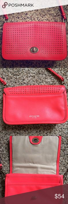 """Coach Legacy Perforated Penny Cross body Authentic Coach Legacy laser cut perforated cross body in coral/salmon color with silver hardware. Small pen stain inside(see photos) and missing Coach tag and tassel (was gifted without). Price reflects condition, exterior of bag still like new!   8""""W x 5""""H x 2 1/2""""D  Strap drop 22"""" - can be work cross body or as a clutch ! Coach Bags Crossbody Bags"""