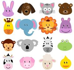 Animal Faces Clipart Clip Art, Zoo Jungle Farm Barnyard Forest Woodland Animal Clipart Clip Art - - - these would be so cute to make masks of fun foam for kids, maybe a birthday party? Deco Baby Shower, Safari Party, Jungle Theme, Animal Faces, Woodland Animals, Craft Items, Handmade Crafts, Diy Crafts, Crafts For Kids