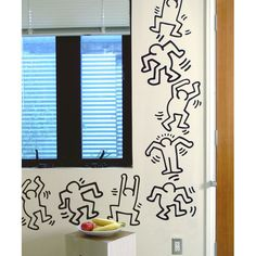 The Blik Keith Haring Dancers Line Art is a fun version of the artist's iconic black and white dancers. The set includes eight dancers printed onto self-adhesive vinyl decals. The dancers are easy to apply and may be removed, but aren't repositionable. Keith Haring, Removable Wall Decals, Vinyl Wall Decals, Patterned Wall Tiles, Stairway Decorating, Smooth Walls, Wall Patterns, Cool Walls, Contemporary Decor