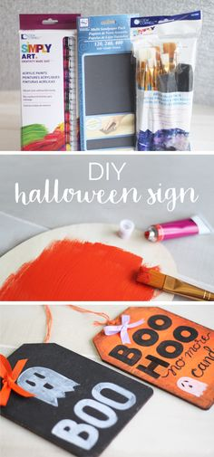 Fall is nearly upon us which means it's time to break out your spookiest Halloween decor! This DIY halloween sign does double duty—not only is it a wonderfully festive decoration to hang on your door through the month of October, but come trick-or-treat you can flip it around to notify the neighborhood your house is all out of candy. Click for the easy tutorial using Simply Art Wood by Loew-Cornell, acrylic paint, and a bit of ribbon!
