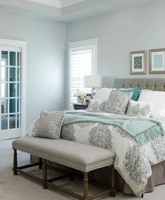 Bedroom Paint Colors bedroom paint colors neutral bedroom with soft blue walls USXKZMF Farmhouse Master Bedroom, Master Bedroom Design, Cozy Bedroom, Bedroom Sets, Home Decor Bedroom, Master Bedrooms, Trendy Bedroom, Bedroom Neutral, Bedroom Simple