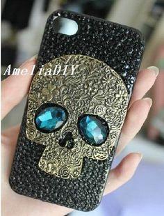 Punk style iPhone Case Black Swarovski Crystals case with brass Blue Eyes Skull steampunk iphone 4 Case iPhone 4s Case unique iphone 5 case