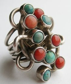 Ring | Artist unknown. Sterling silver, coral, turquoise. ca. 1960s.