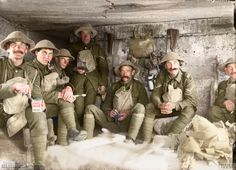 THE BATTLE OF PASSCHENDAELE, JULY-NOVEMBER 1917 Men of the West Yorkshire Regiment sitting in a captured German pill box waiting to go into action, near the St Julien - Gravenstafel road during the Battle of Polygon Wood, 26 September - 3 October, part of the Battle of Passchendaele. (Source © IWM Q 2903)