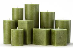 Green Mottled Pillar Candles