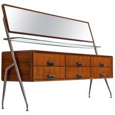 Silvio Cavatorta Mirror Sideboard Mirrored Sideboard, Metal Nightstand, Modern Sideboard, Wood Sideboard, Vintage Sideboard, Long Mirror, Mirror With Shelf, Dresser With Mirror, Italian Living Room
