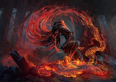"""Volcanic Risi by Alexandre Mokhov Illustration for the card game """"Mythgard"""" … Volcanic Risi by Alexandre Mokhov Illustration for the card game """"Mythgard"""" by Rhino Games Dark Fantasy Art, Fantasy Kunst, Fantasy Artwork, Dark Art, Fantasy Inspiration, Fantasy Characters, Amazing Art, Character Art, Character Sketches"""