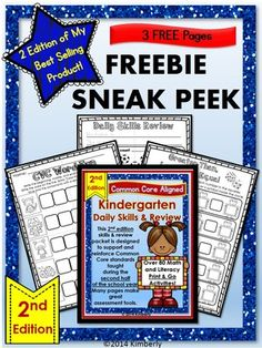 FREEBIE: Kindergarten Daily Skills and Review 2ND EDITION-Print and Go from By Kimberly on TeachersNotebook.com -  (3 pages)  - FREEBIE SNEAK PEEK-2nd Edition  2nd Edition Kindergarten Daily Skills & Review Common Core Aligned Print and Go  These 3 FREE pages (taken from the 2nd Edition of my best selling product) are designed to support and reinforce the math and literacy Com