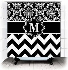 Black White Chevron Zigzag Damask Monogram Shower Curtain - You choose Letter!
