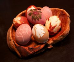 Decorated Easter eggs with herbs and dye... this is a wonderful tutorial and so unique!  Just like great grandma brown!